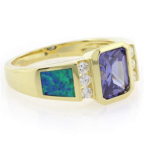 emerald cut tanzanite opal ring silverbestbuy