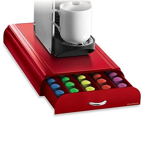 nespresso bed bath beyond buy nespresso 174 coffee capsule drawer in red 50 pod capacity from bed bath beyond