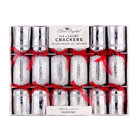 six luxury christmas crackers made with crystals from