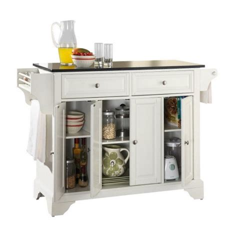 white kitchen island with natural top crosley furniture lafayette natural wood top kitchen
