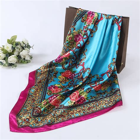 square silk head scarf hijab scarves silk satin square head scarf women s flower