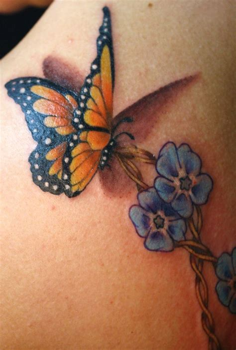 realistic butterfly tattoo designs monarch butterfly and forget me nots
