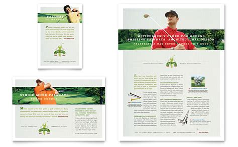 golf course instruction flyer ad template design