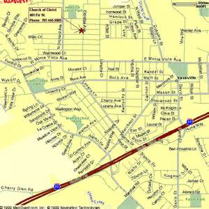 map to vacaville church of