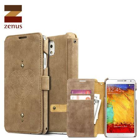Zenus Retro Vintage Brown Diary Samsung Galaxy Note 3 Genuine Leather zenus retro vintage diary samsung galaxy note 3