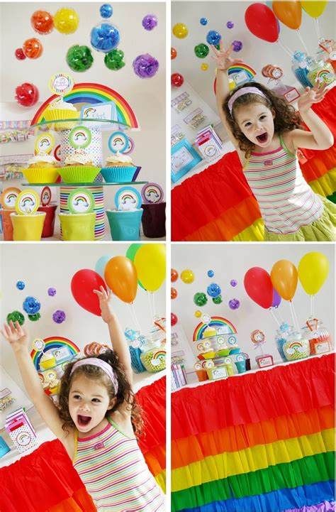 printable rainbow party decorations rainbow birthday party with printables party ideas