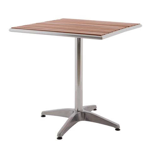 table bistrot aluminium table de bistrot carr 233 e en aluminium et teck table de