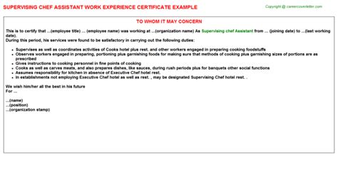 Work Experience Letter Of Chef chef work experience letters sles