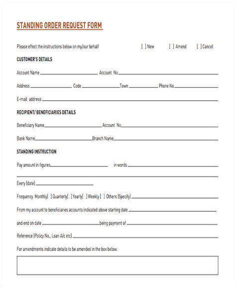 standing order form template 28 order forms in pdf free premium templates