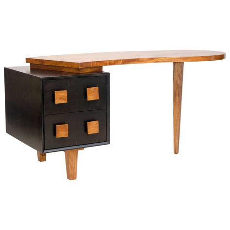 two tone organic shape desk american paul laszlo style
