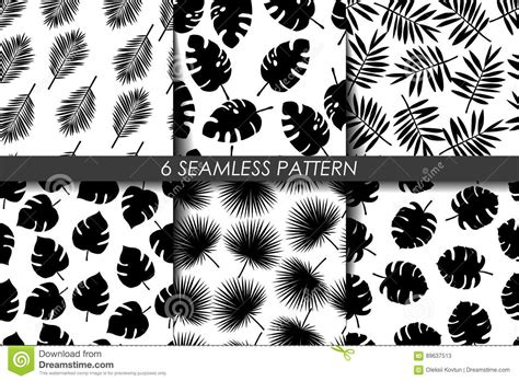 jungle pattern black and white tropical leaves seamless pattern set vector collection
