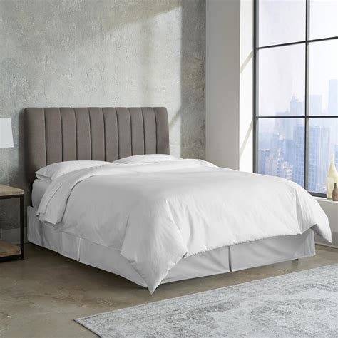 grey linen headboard linen grey full channel seam headboard 3651flnngr the