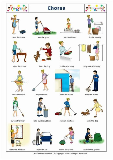 home chores chores and household flashcards for