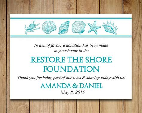 Charity Donation Card Template by Wedding Favor Donation Card Template Seashell