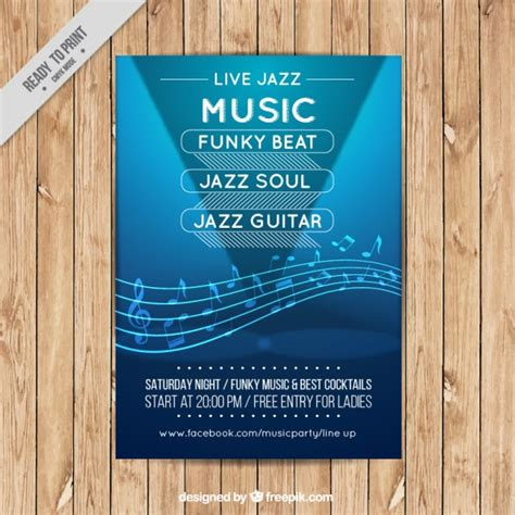 jazz music flyer template vector free download