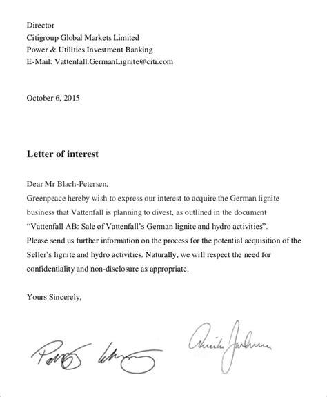 8 Letter Of Interest Sles Sle Templates Letter Of Interest For Template