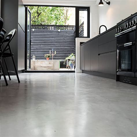 Poured Resin Floor by Micro Concrete Kitchen Installation Poured Resin And