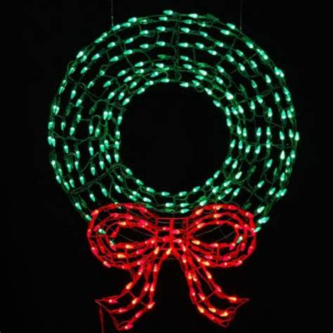 36 in pre lit led outdoor wreath with bow sculpture and