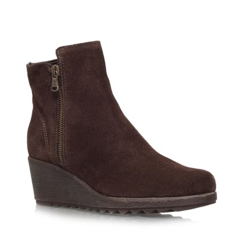 carvela kurt geiger suede wedge heel ankle boots in