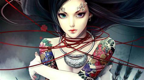 anime girl tattoo wallpaper anime girl tattoos awesome wallpaper desktop hd wallpaper