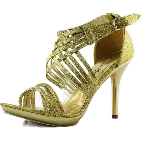 gold high heel sandals evening glitter strappy evening sandals open toe stiletto high