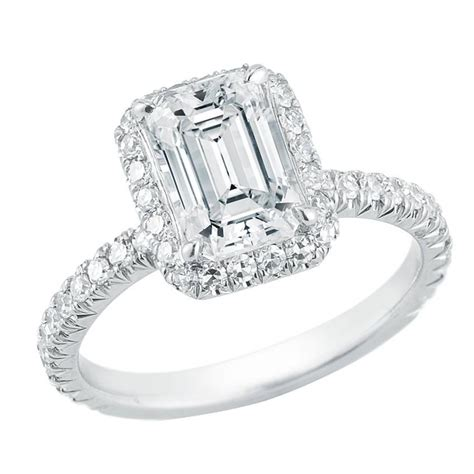 Micro Pave Engagement Rings by Emerald Cut Platinum Micro Pave Halo Engagement