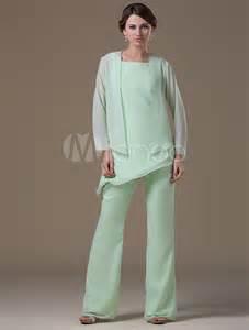 Mint green mother of the bride suit asymmetrical chiffon suit