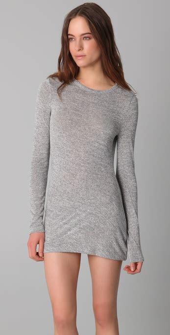 by alexander wang drape back mini dress in black lyst t by alexander wang marled drape back mini dress in gray