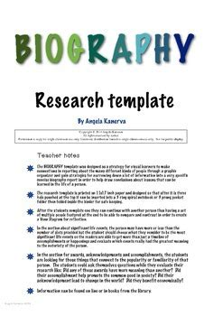 biography research template by angela kanerva teachers