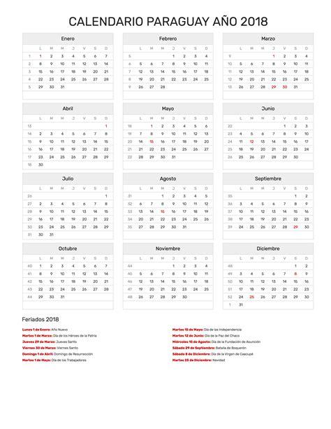 Calendario Uruguay 2018 Calendario Paraguay A 241 O 2018 Feriados