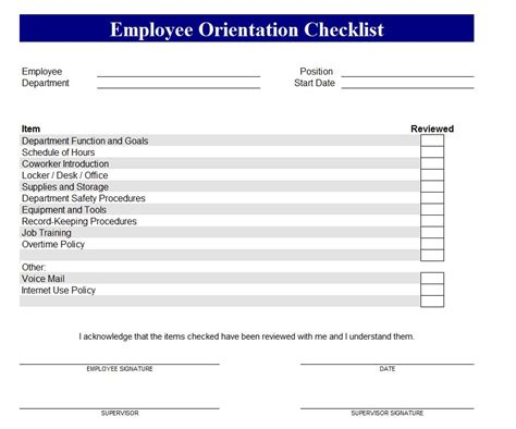 orientation program for new employees template new employee orientation checklist