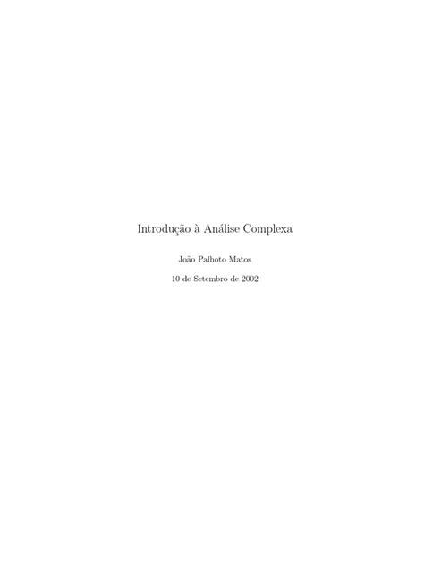 ACED - Livro - Introdução à Análise Complexa | Função