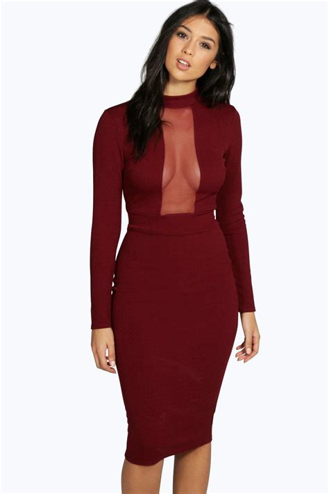 Mesh Panel Sleeve Dress mesh panel sleeve midi bodycon dress at boohoo