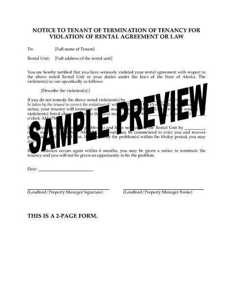 Lease Termination Letter Bc alaska notice of termination of tenancy for of
