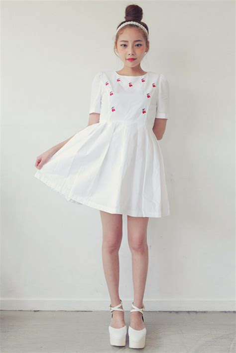 Dress Korea Cherry stylenanda cherry embroidery pintuck dress kstylick