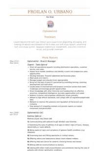 resume format for freshers optometrist branch manager resume format