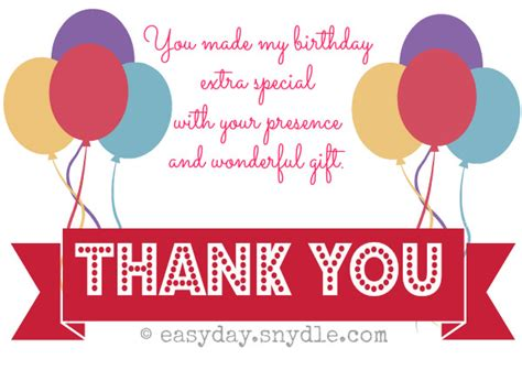Thank You Card Wording Birthday Gift - cute sle thank you card for birthday gift modern designing template ballons motive