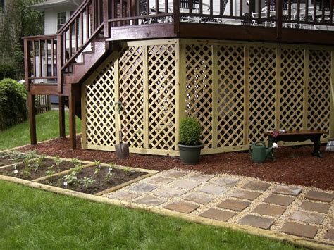 Lattice Around Shed by Deck Storage To Maximize Space Beneath The Deck