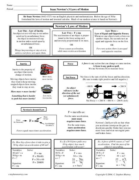 Newton S Laws Of Motion Worksheet 8th Grade