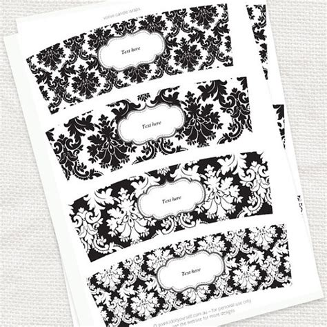 free candle label templates damask candle wraps printable editable file black and