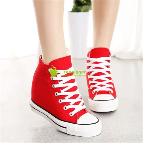 platform sneaker heels new womens wedge canvas high top lace up platform