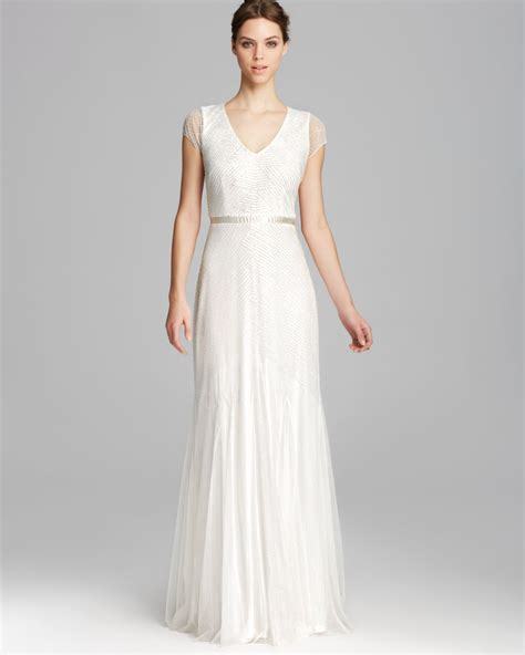 beaded cap sleeve gown papell gown cap sleeve v neck beaded in white