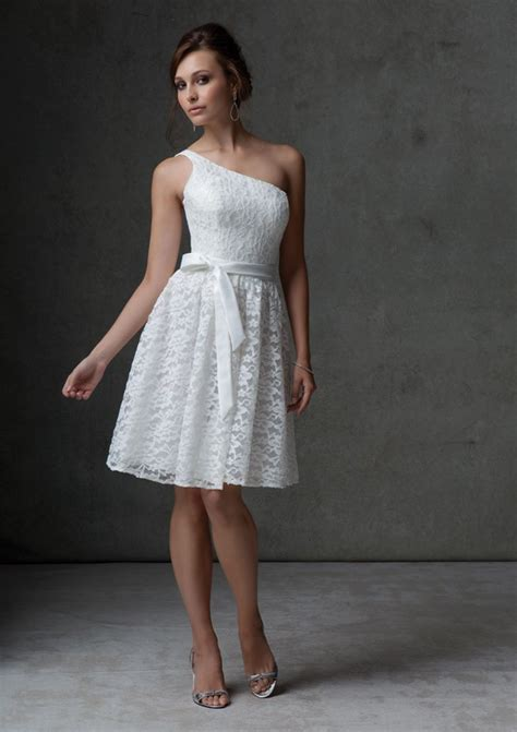 casual a line one shoulder knee length white chiffon party dress cokm14005 a line one shoulder knee length white lace bridesmaid