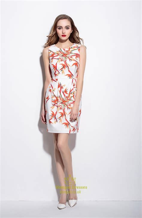 Floral Print Sleeveless Dress casual summer white sleeveless floral print sheath dress