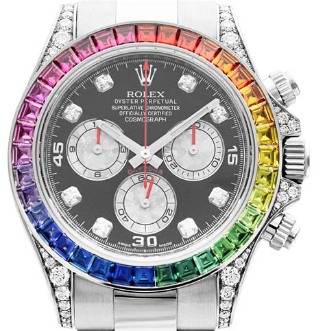 Rolex Daytona Silver Rainbow rolex white gold daytona rainbow chronometer wristwatch ref 116599 at 1stdibs