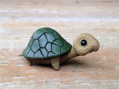 Handmade Turtle - turtle handmade miniature polymer clay animal figure