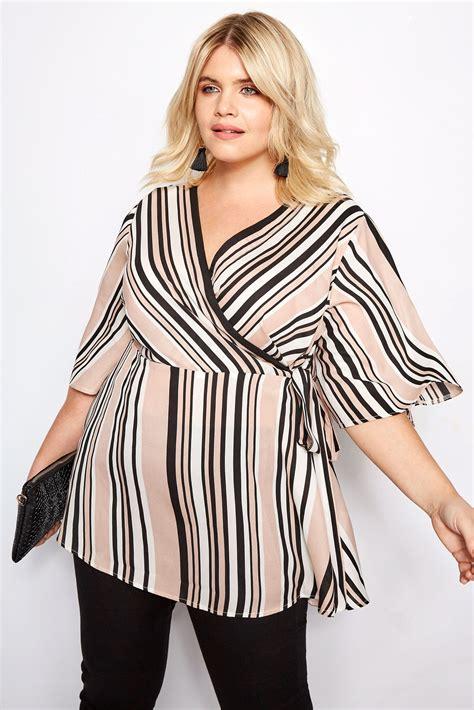 Tassel Stripe Chiffon Top plus size pink stripe chiffon wrap top sizes 16 to 36