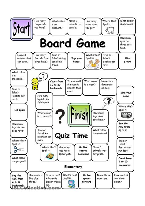 printable board games for elementary students board game quiz time easy english language esl efl