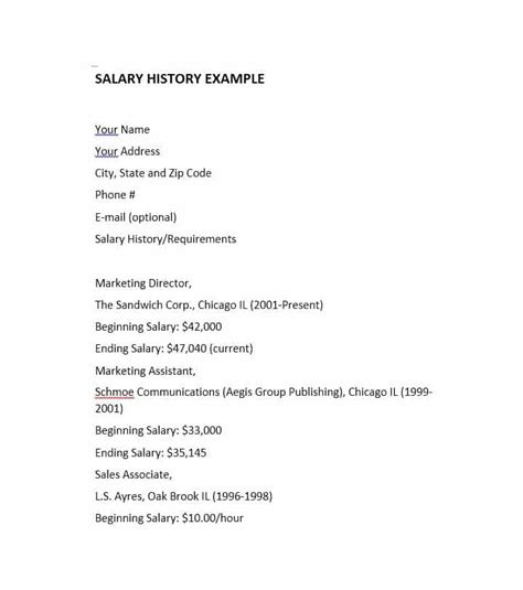 salary history template hourly 19 great salary history templates sles template lab