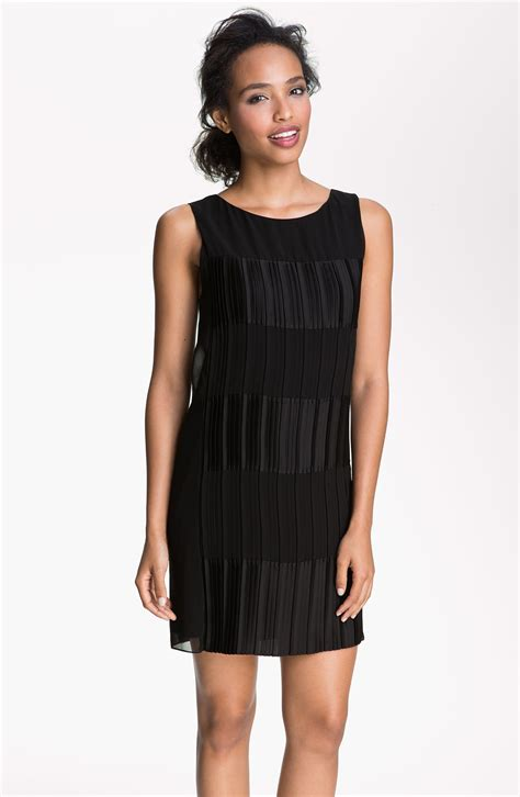 Cleeo Dress max cleo sleeveless pleated chiffon satin dress in black